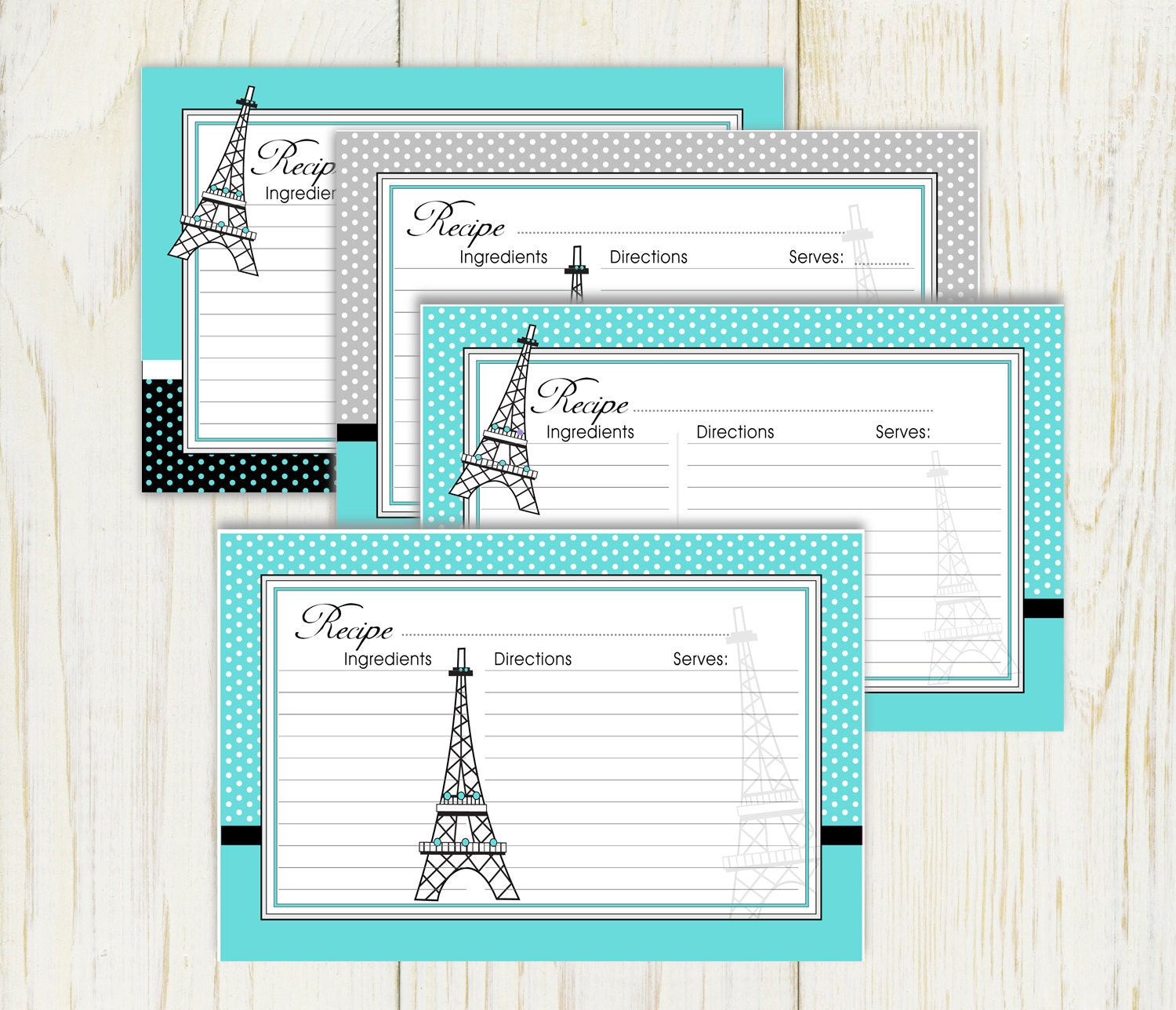 Paris Recipe Cards Paris Theme Teal Recipe Cards
