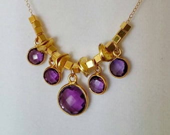 Summer Clearance SALE ! Purple amethyst gemstone necklace. Bezel set. Gold bead accents. Delicate gold chain. Layer. Minimalist. Short. Adju