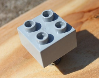 Kids Drawer Knobs made with Toy Brick in Light Grey (TK03)