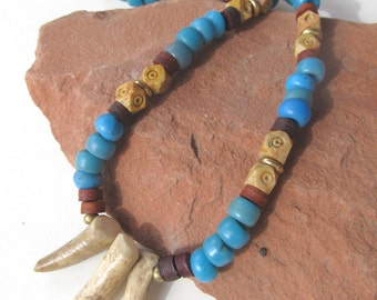 Unisex Elk Antler Necklace with Trade Beads and Leather Native Style Necklace