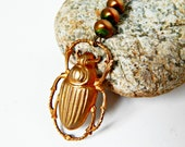 Golden Scarab Beetle Neclace with Pearls