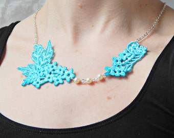 Blue Lace and Ivory Pearl Necklace