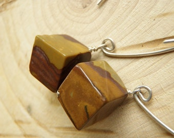 Brown and Mustard Jasper Cubes and Sterling Silver Earrings
