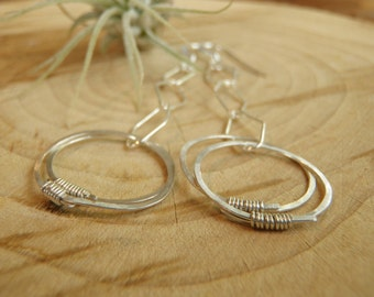 Circles and Diamonds - Sterling Silver Earrings