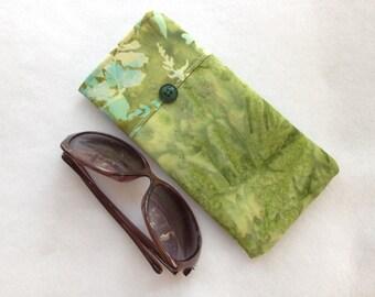 Sunglasses Case, large size glasses sleeve, green batik cotton,  eyeglass cozy, soft case, gift for co worker, daughter, sister, women