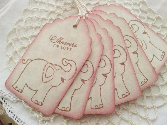 Baby Shower Tags Baby Elephant Its a Girl Pink Baby Gift Tags  Set of 6