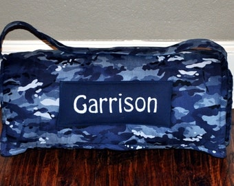 Nap Mat - Monogrammed Navy Blue Camouflage Nap Mat with Navy Minky Dot Blanket