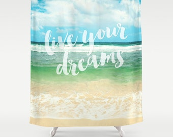 Beach Shower Curtain,typography,aqua home decor,ocean,turquoise,nautical decor,seashore,summer,Hawaii,coastal