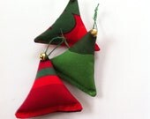 set of 3 marimekko fabric tree ornaments // with bell // simple and modern