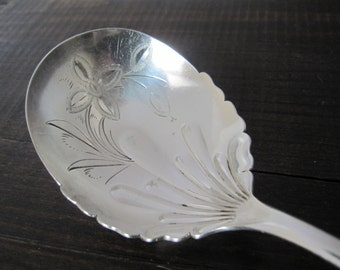 Victorian Serving Spoon, Shell II 1889 by Towle Mfg Co Silverplate with Engraved Bowl