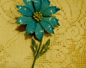 Turquoise Blue flower Pin Brooch 1960s vintage JJ