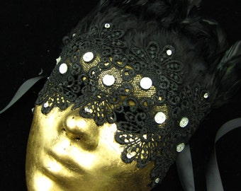 OOAK Uccello Nero Mask, Fullfaced Haute Couture Gold Leafed Mask with Venetian lace, black feathers, and crystal rhinestones