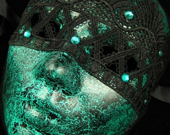 OOAK Serpentine Mask, Green and Black Fullfaced Haute Couture Mask with Venetian lace and green rhinestones