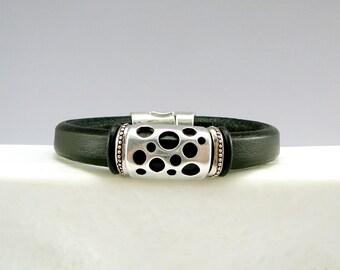 Black Leather Bracelet, Leather Jewelry, Chunky Bracelet, Women's Leather Bracelet, Leather and Silver Bracelet, Jewelry Gift for Her