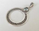 Balinese Sterling Silver Topaz gem pendant / silver 925 / Bali granulation art handmade jewelry /  1.80 inch long