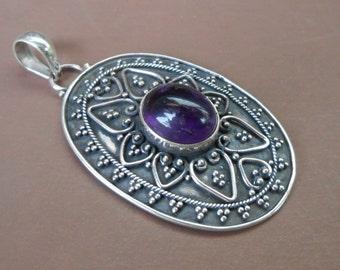 Ravish sterling Silver Amethyst Cabochon  pendant / silver 925 / Bali granulation technique/ handmade jewelry