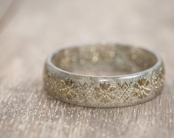 Gold Ribbon Resin Bangle Bracelet Boho French Trim Medium Cuff OOAK wedding eco friendly resin jewelry