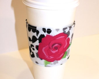 Hot Pink Floral on Black and White  Coffee Sleeve