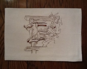 EMBROIDERED WESTERN DESIGN--flour sack dish towel