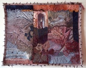 Quilted Wall Hanging, Art Quilt, Fiber Art, non-traditional quilt, collage art, mixed media, Textile art