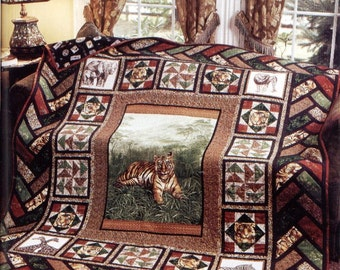 Out of Africa Quilt / Handmade Twin Size Bed Quilt / Wildlife Safari Tiger Theme