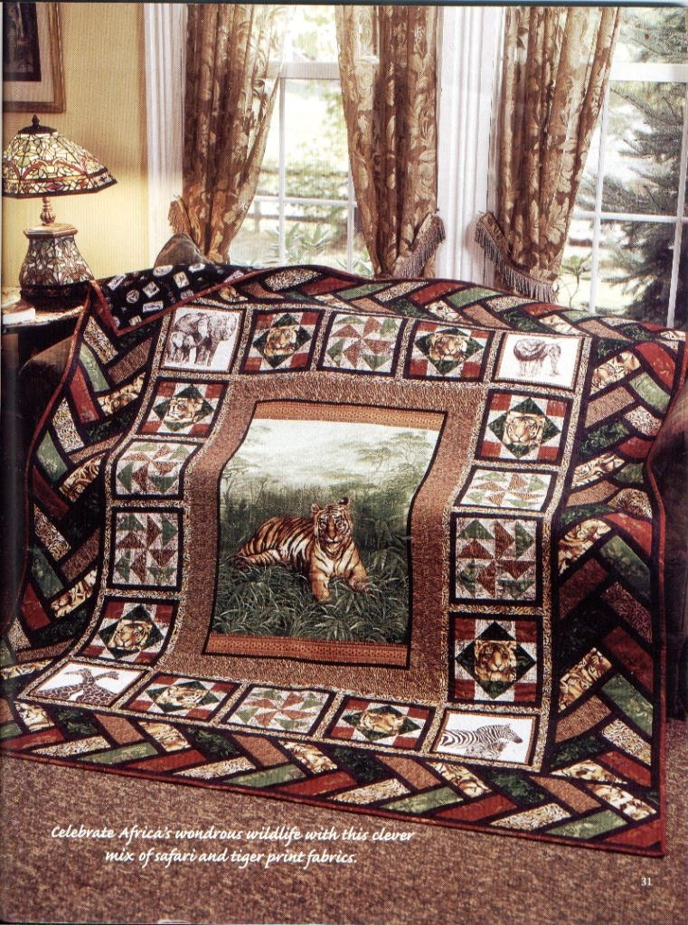 Out Of Africa Quilt Wildlife Safari Tiger Themed Twin Size