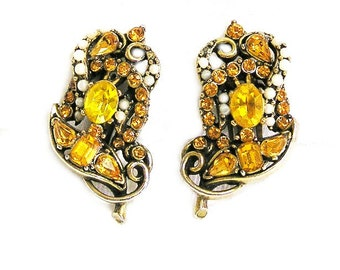 Hollycraft 1953 Topaz and Pearl Earrings