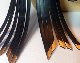 Inner Tube Fringe Earrings with metallic accents