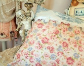 Blue Toile Pompoms Pretty Pink and Blue Flowers is so Shabby Chic and Brocante Style