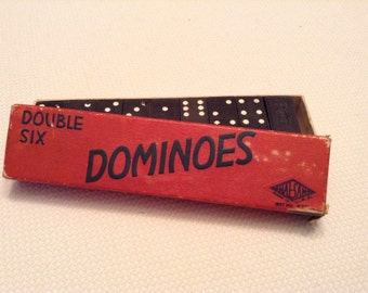 Vintage Dominoes Double Six Box Halsam Hermes