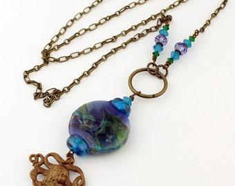 Blue Lampwork Necklace Long Chain Beaded Jewelry Vintaj Antique Brass 'Mermaid's Tresses'