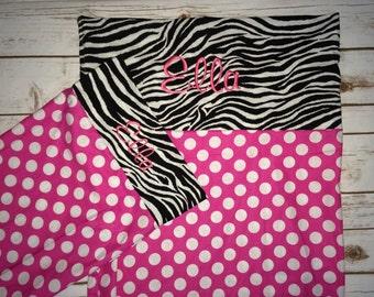 Zebra nap mat cover with matching pillowcase