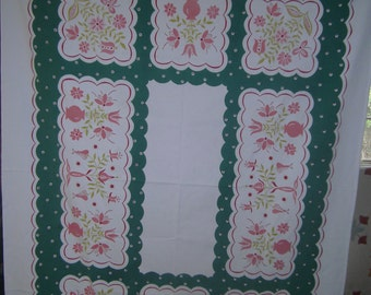 1950s Print Kitchen Table Cloth - Stylized Tulips