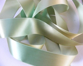 Vintage 1930's-40's French Rayon Taffeta Satin Ribbon 1 9/16 Inch Variegated Green