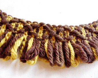 Vintage 1960's  Loop Yarn Trim 1 3/4 inch Brown and Gold