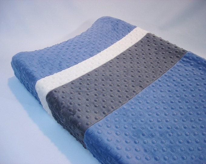 Denim Blue Changing Pad Cover with Stripes