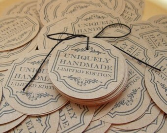 """Circle Tags.. """"Uniquely Handmade Limited Edition"""" ... Merchandise Tag...Hang Tag ... Set of 25.. Mini Insert or Thank You Tag ..."""