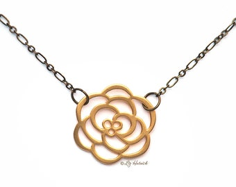 Matte Rose Necklace. Brass Chain and Matte Gold Tone Brass Flower Necklace. Bohemian. Minimal.