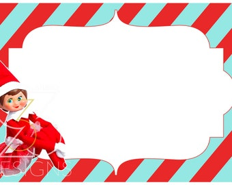 Elf on Shelf Girl Christmas Graphic s Card - Blue & Red Stripped ...