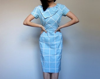 1960s Blue White Dress Checkered Polka Dot Short Sleeve Fitted Dress 60s Day Dress Wiggle Dress - Small S