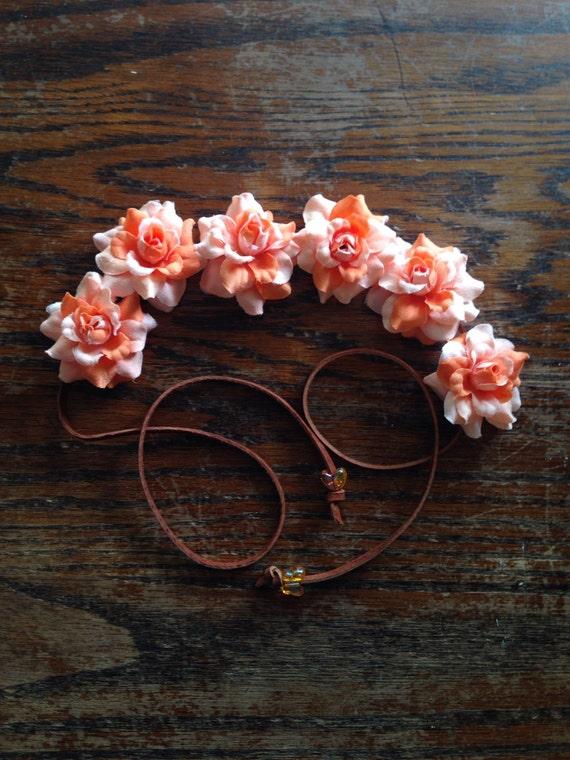 Orange Silk Flower Power HeadBand- Flower Crown - Halo