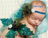 Peacock Luxe Glitter Crystal Headband New Born, Infant, Toddler, Adult