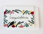Floral congratulations card with bird - wedding - new baby - florals and bird - congratulations card - nature inspired