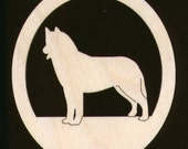 Siberian Husky Dog Shape Natural Wood Cutout 196