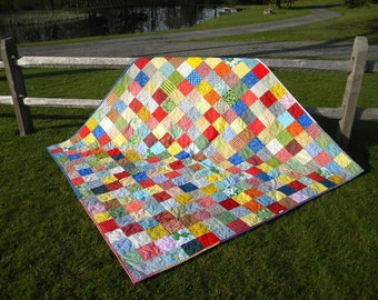 Classic Americana Patchwork Quilt--picnic size--81X81--personalized for a wedding