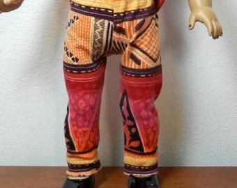 BK Red, Gold, Fuchsia, Black Design Leggings - 18 Inch Doll Clothes fits American Girl