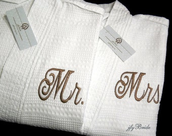 Mr Mrs Monogram Robes, His Hers Monogram Robes, Personalized Bathrobes, Cotton Anniversary Gift, Couples Bathrobes, 1503 Set of 2 Robes