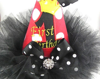 Birthday Party Hats-Party Hats - First Birthday hat-Red and Black Polka dots-personalized hat-mouse hat