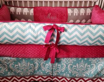 Fuchsia, gray elephant  and aqua damask Baby bedding Crib set DEPOSIT Down Payment Only