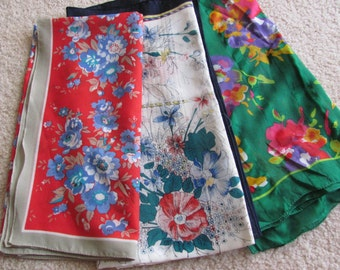 Lot of 3 Vintage Ladies Colorful Poly Fashion Scarf Scarves  - (#7)